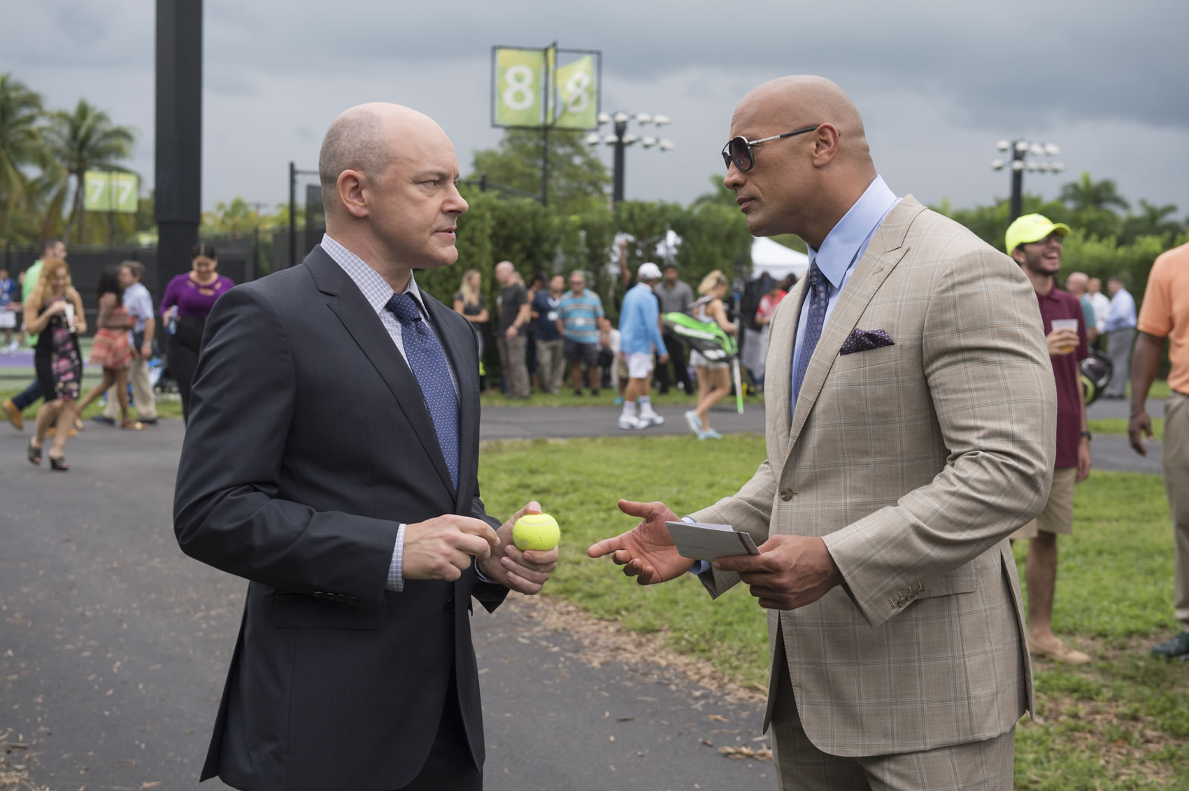 Ballers starring Dwayne Johnson seen here with co-star Rob Corddry (left) - image courtesy of Sky Deutschland GmbH -