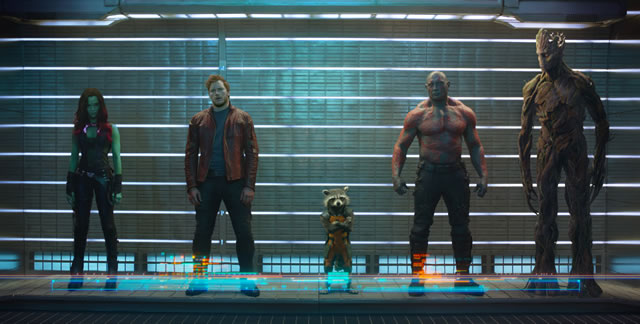 Marvel's Guardians Of The Galaxy..L to R: Gamora (Zoe Saldana), Peter Quill/Star-Lord (Chris Pratt), Rocket Raccoon (voiced by Bradley Cooper), Drax The Destroyer (Dave Bautista) and Groot (voiced by Vin Diesel)..Ph: Film Frame..©Marvel 2014