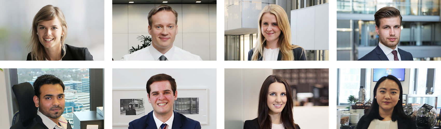 Take a look inside the Deutsche Börse Group - image courtesy of the Deutsche Börse Group -  Main left: Lara Atkinson. Top row from left:  Christian Hoops, Ryan Finn, Lin Xu. Bottom row from left: Markus Stoker, Mélanie Moos, Peeyush Arora. Main right: Agathe Glatz.